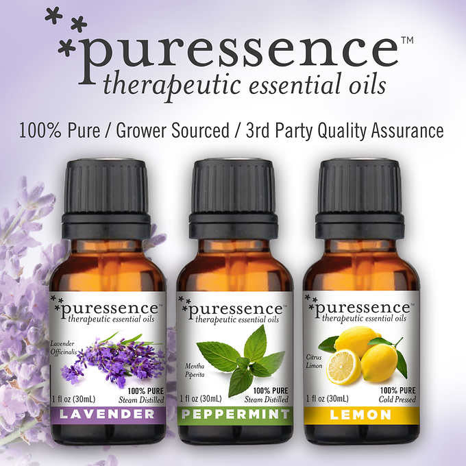 puressence Therapeutic Essential Oil Wellness Kit (Lavender, Lemon and Peppermint)