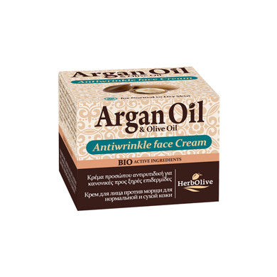 Argan Oil & Olive Oil Face Cream Anti-wrinkle Normal-Dry Skin 50ml / 1.69oz, Anti-wrinkle, OnlyMySkin.com - OnlyMySkin.com