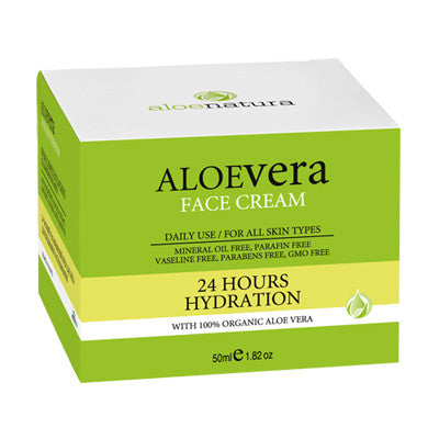 AloeNatura Face Cream, 24 Hours Hydration with Aloe Vera 50ml/1.82 oz., Face Cream, OnlyMySkin.com - OnlyMySkin.com