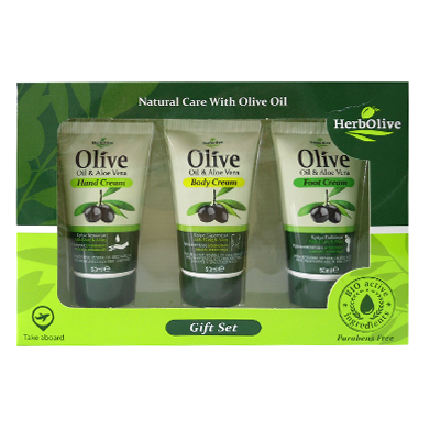 HerbOlive Gift Set Nr1 with Hand Cream Olive Oil & Aloe Vera 50ml/1.69 fl oz, Body Cream Olive Oil & Aloe Vera 50ml/1.69 fl oz, Foot Cream Olive Oil & Aloe Vera 50ml/1.69 fl oz, Hand cream, OnlyMySkin.com - OnlyMySkin.com