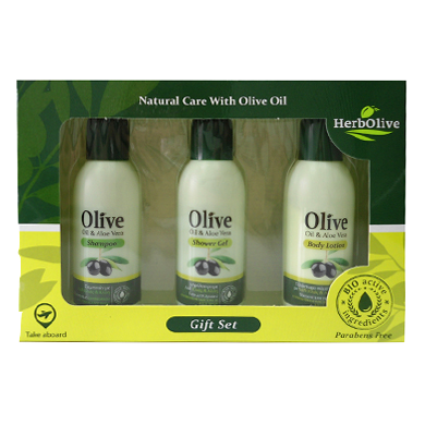 HerbOlive Gift Set Nr2 with Shampoo Olive Oil & Aloe Vera 60ml/2.02 fl oz, Shower Gel Olive Oil & Aloe Vera 60ml/2.02 fl oz, Body Lotion Olive Oil & Aloe Vera 60ml/2.02 fl oz, Hand cream, OnlyMySkin.com - OnlyMySkin.com