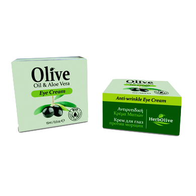 HerbOlive Eye Cream Anti-wrinkle with Olive Oil & Aloe Vera 15ml / 0.50oz, Face Oil/Eye Care, OnlyMySkin.com - OnlyMySkin.com