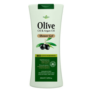 HerbOlive Body Shower Gel with Olive Oil & Argan Oil 200ml, Shower Gel, HerbOlive - OnlyMySkin.com