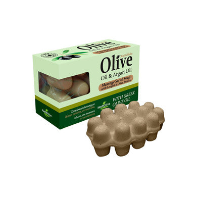 HerbOlive Massage Scrub Soap with Olive Oil & Argan Oil, Loofah & Olive Stones 100gr / 3.52oz, Soap, OnlyMySkin.com - OnlyMySkin.com