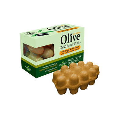 HerbOlive Massage Scrub Soap with Olive Oil & Exotic Fruits, Loofah & Olive Stones 100gr/3.52oz, Soap, OnlyMySkin.com - OnlyMySkin.com
