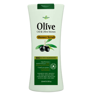 HerbOlive Body Shower Scrub with Olive Oil & Olive Stones 7.04 oz., Body Scrub, OnlyMySkin.com - OnlyMySkin.com