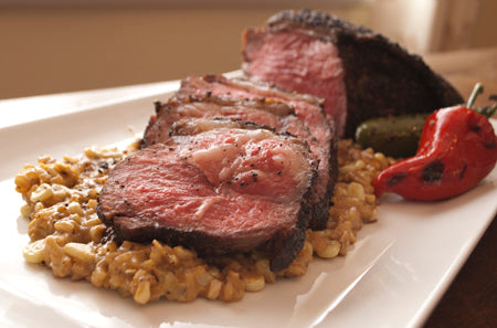 Coffee Rubbed Steak with Creamed Corn & Tomatillo Risotto