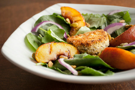 Grilled Nectarine Salad with Crisped Goat Cheese