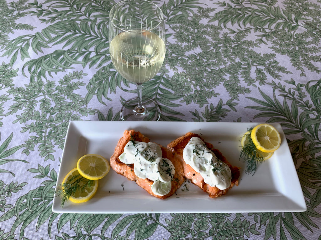Grilled Salmon with Creamy Cucumbers and Fresh Dill