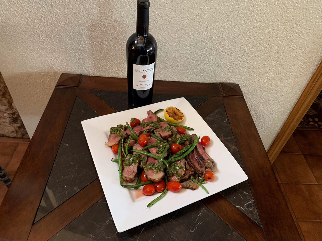 Grilled Steak Salad with Blistered French Green Beans and Cherry Tomatoes