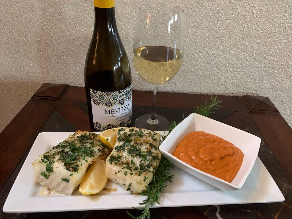 Oven Baked Chilean Sea Bass with Romesco Sauce