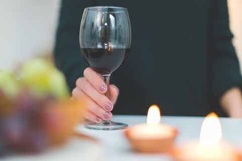 Red wine glass candles