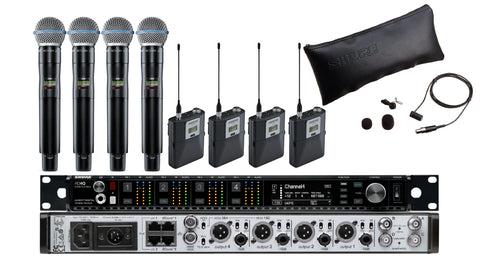 Shure AD4Q Four-Channel Digital Wireless Receiver/Microphone Bundle