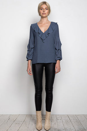 WISH - STARGAZING BLOUSE IN STEEL BLUE - Style on Point