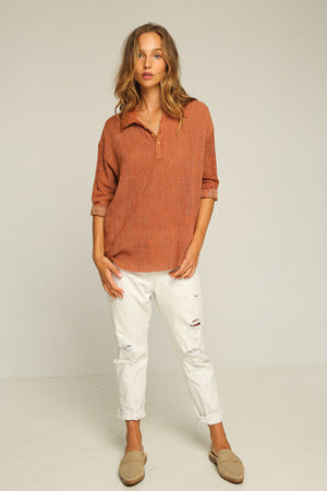 RUE STIIC - HARRISON SHIRT IN BURNT STRIPE - Style on Point