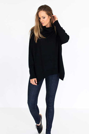 Roll Over Sweater in Black - Style on Point