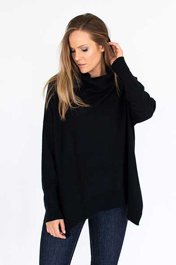 HUMIDITY - Roll Over Sweater in Black - Style on Point