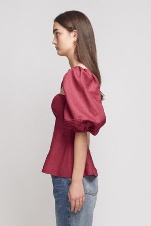 JOSLIN - Addison Linen Top, Cherry Red - Style on Point