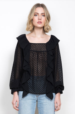 WISH - Siena Sleeved Blouse Black