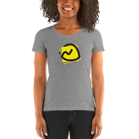 a woman wearing a grey tee with the Basecamp logo on it