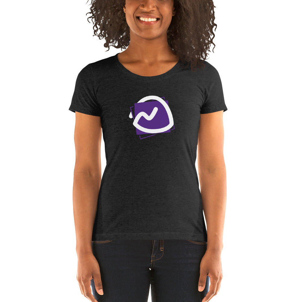 a woman wearing a black tee with the Basecamp logo on it