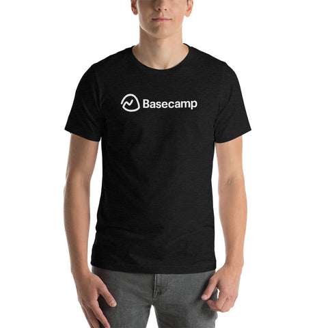 a man wearing a black tee with the Basecamp logo on it