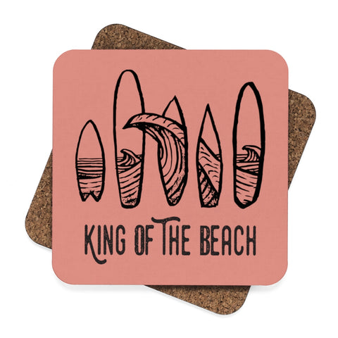"King Of The Beach® Surfboard ""Rose Gold"" Coasters"