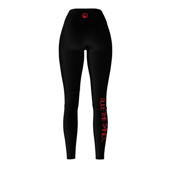 Queen Of The Beach® Women Black/Red Rule The Sand x Circle Crown Sports Leggings