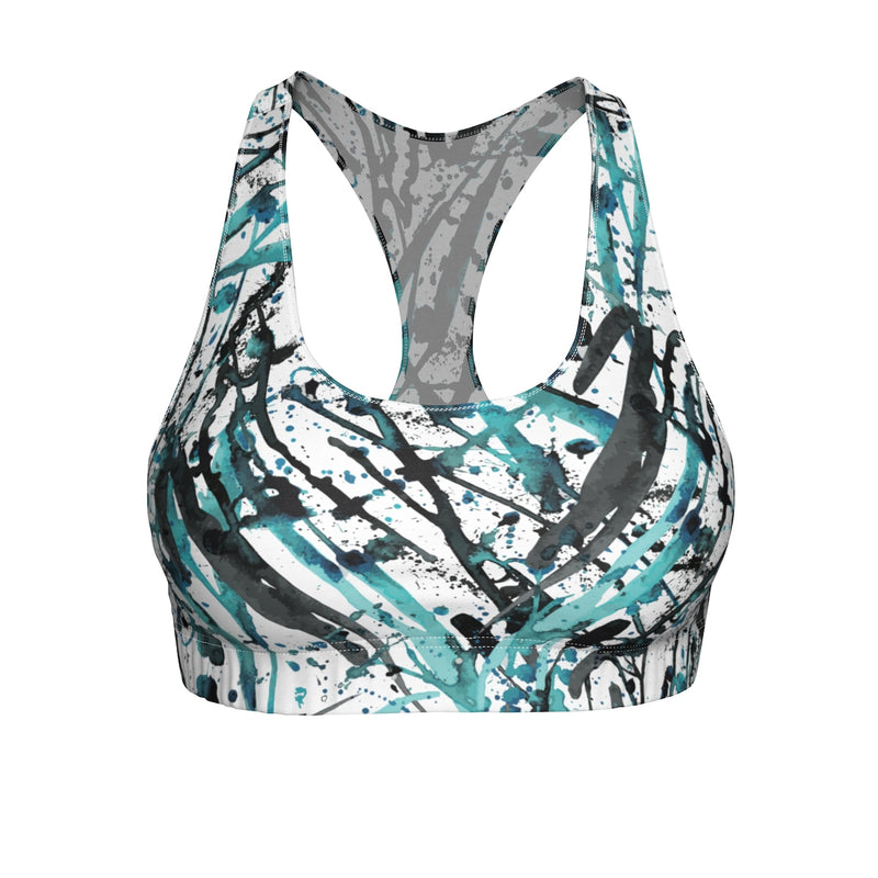 "Queen of the Beach® Circle Crown ""Art Deco"" Sports Bra"