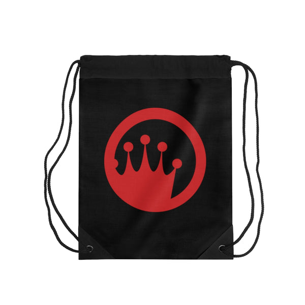 King of the Beach® Red Circle Crown Black Drawstring Bag