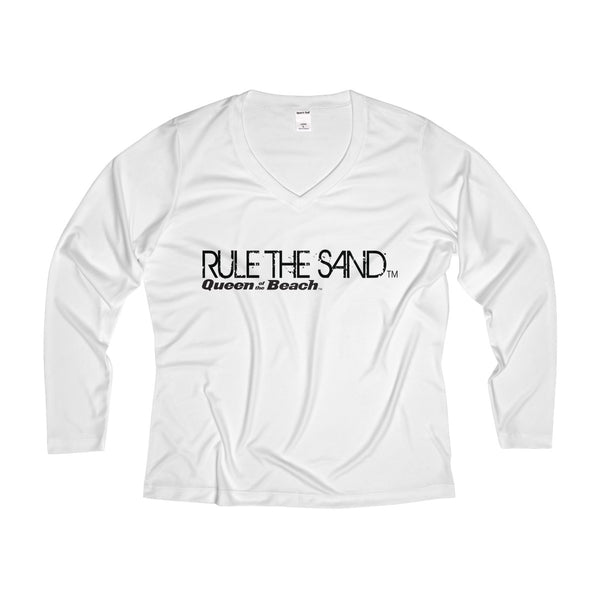 "Queen of the Beach® ""Rule the Sand™"" Performance V-neck Long Sleeve Tee"