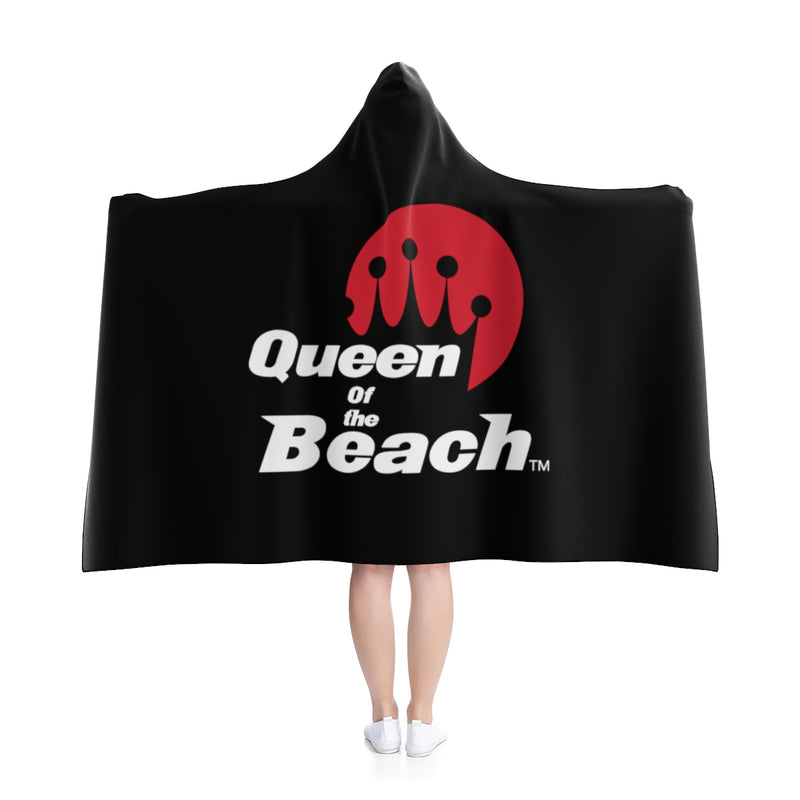 Queen of the Beach® Crown Brands Red & White On Black Hooded Blanket