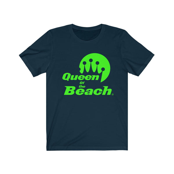 2019 Queen of the Beach® Stack Logo Neon Green Tee