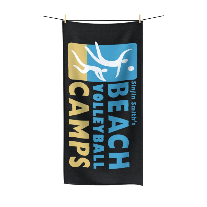 King Of The Beach™ Sinjin Smith's Beach Volleyball Camps Black Beach Towel