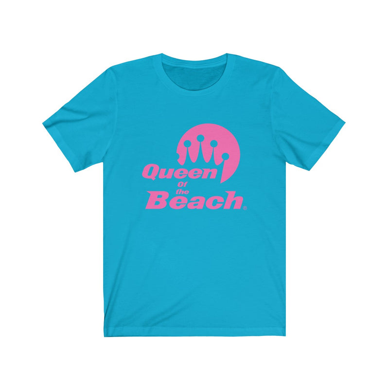2019 Queen of the Beach® Stack Logo Neon Pink Sleeve Tee