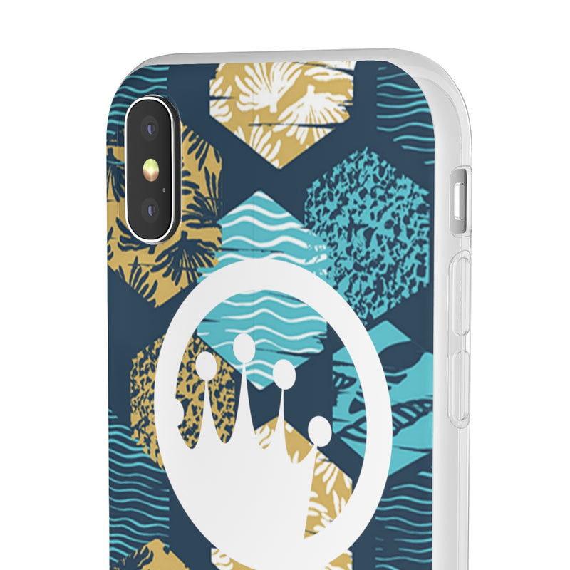 King of the Beach® White Circle Crown Retro Flexi Cases