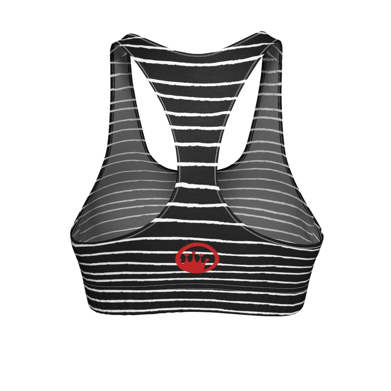"Queen of the Beach® Circle Crown ""Stripe"" Sports Bra"