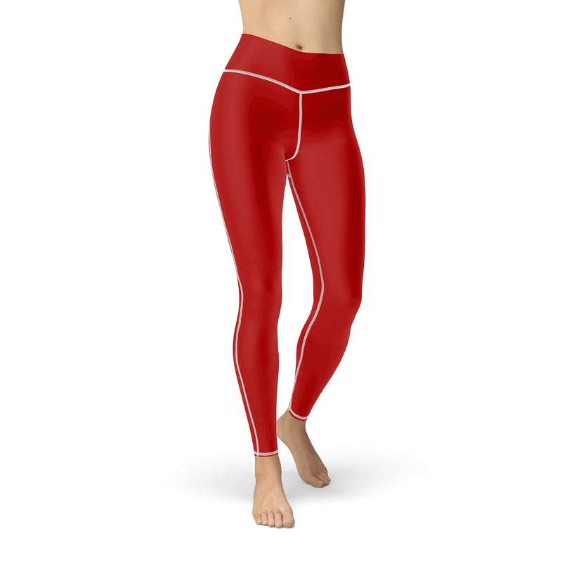 Queen Of The Beach® Women's Red Basic Shield Logo Sports Leggings