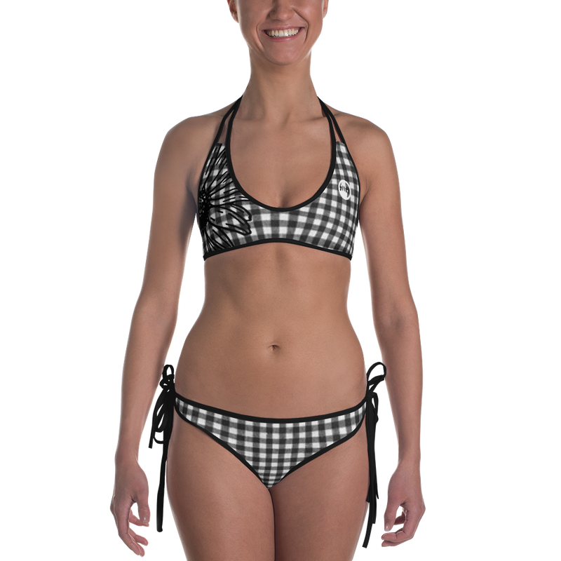 "QOB® Circle Crown ""Gingham"" Reversible Bikini"