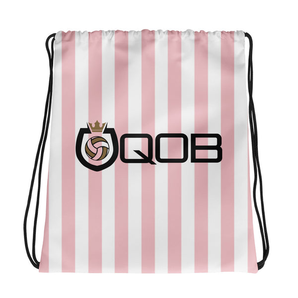 Queen Of The Beach® Candy Stripe Shield Logo Drawstring bag