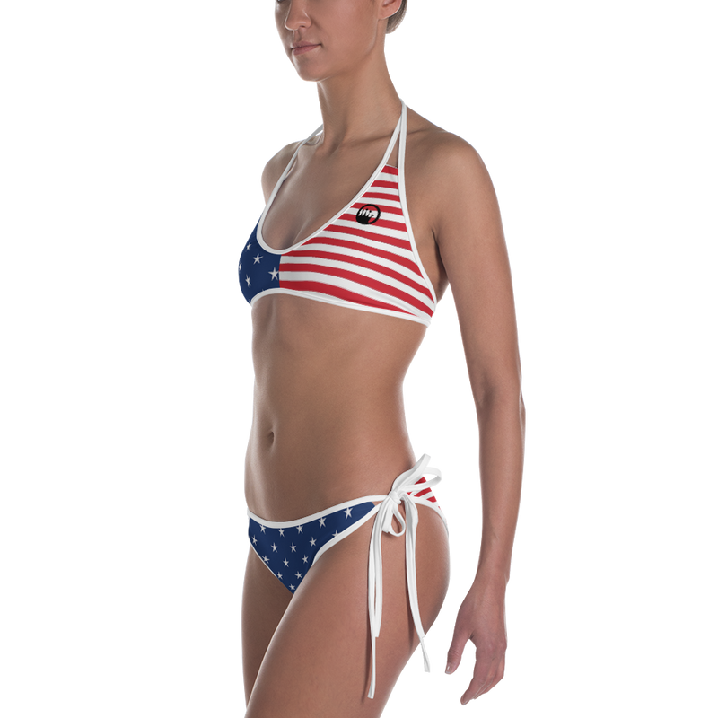 "QOB® Circle Crown ""Stars and Stripes""  Reversible Bikini"
