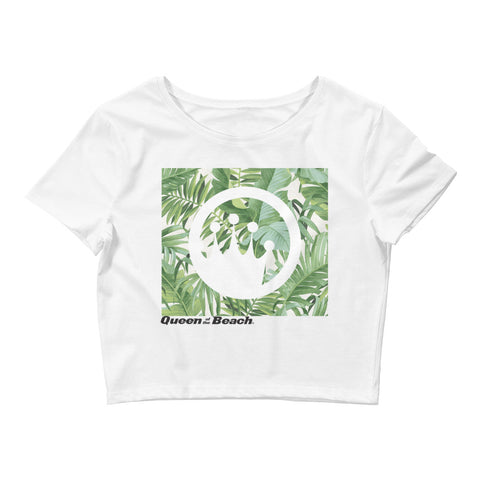 "Queen of the Beach® ""Baja Palm"" Crop Tee"