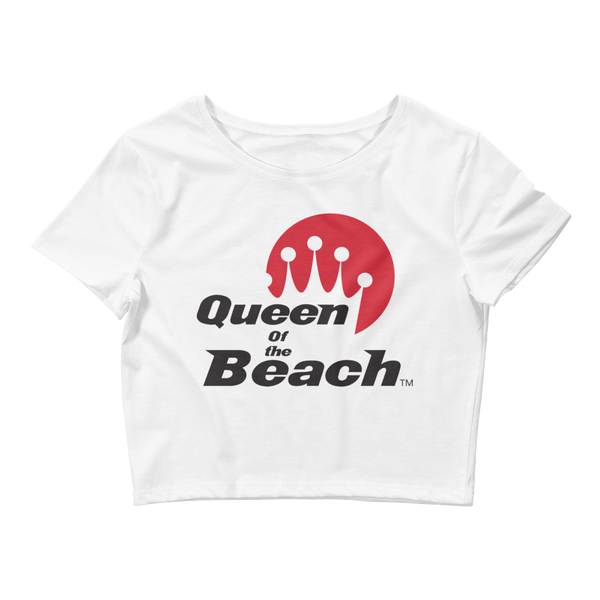 Queen of the Beach® Red Stack Logo White Crop Tee