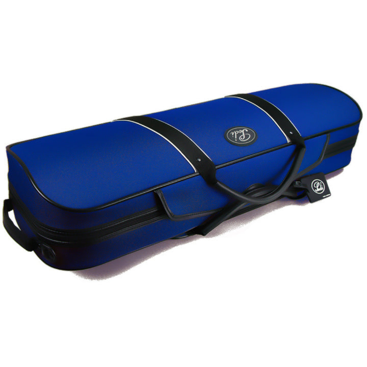 Blue backpack violin case with sheet music pouch