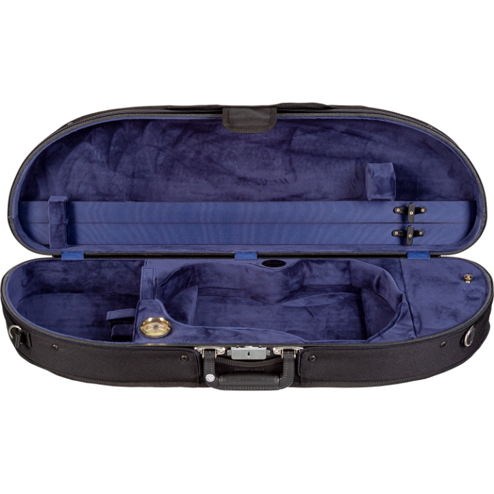 Blue Bobelock 1047 Wooden Half Moon Violin Case