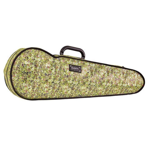 Bam Contoured Violin Case Green Flower Hoody - Side