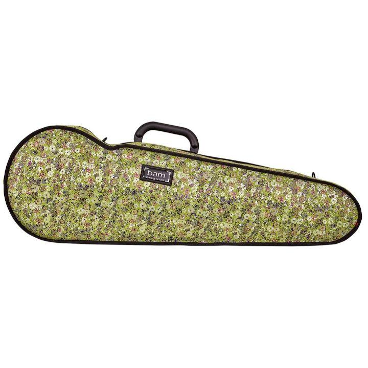Bam Contoured Violin Case Green Flower Hoody - Front