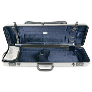 Bam Hightech Oblong Violin Case Silver Carbon with Pocket