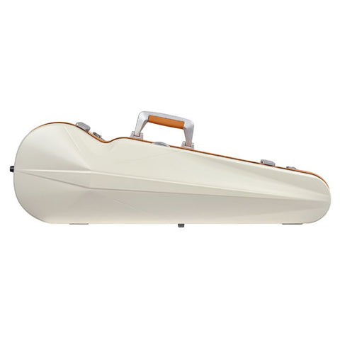 Image of Bam Ice Supreme Contoured White-Orange Seal Violin Case- Front
