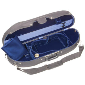 Bobelock 1047 Wooden Half Moon Violin Case Blue Velvet